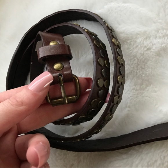 Brown Belt w Gold Studs🤎